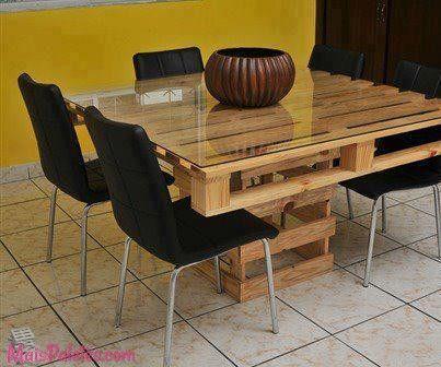 Mesas de refeição com #paletes  Mais aqui -> http://maispaletes.com/8-mesas-de-cozinha-feitas-com-pallets/