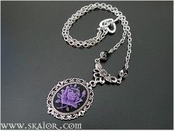 Victorian Cameo Necklace Purple Rose Gothic Necklace Gothic Jewellery
