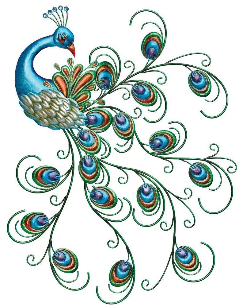 Blue peacock metal wall art