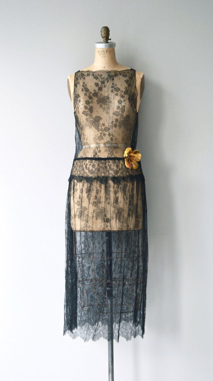 Night Gossamer dress | vintage 1920s dress | black lace 20s dress ...