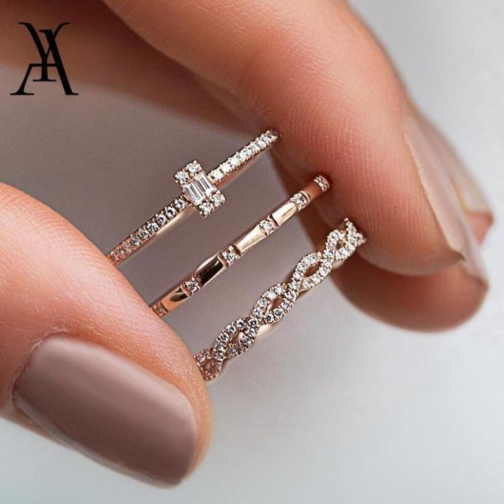 3Pcs/Set Fashion Geometry Intersect Crystal Ring