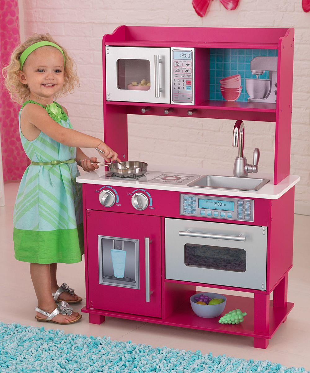Pink & Silver Gracie Kitchen Set Wooden play kitchen