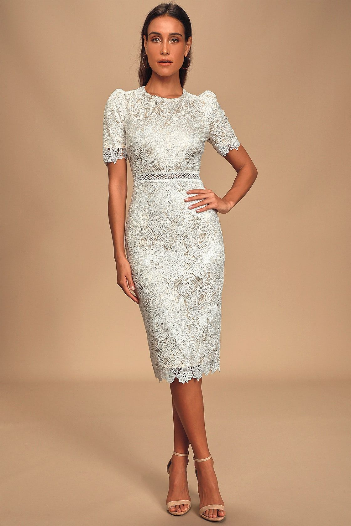 Off White Crochet Lace Short Sleeve Midi Dress Midi Short Sleeve Dress Off White Lace Dress White Lace Midi Dress [ 1680 x 1120 Pixel ]