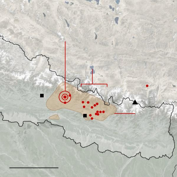 Nepal earthquake damage the result of  strong shaking over a wide area.  http://nyti.ms/1OU8Hm2