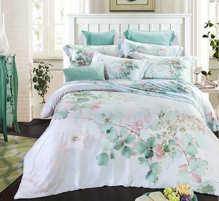 Chinese Style Blue Green Pink Purple Leaf 100 Natural Tencel Silk 4pcs Bedding Bed Linens Luxury Bedding Sets King Bedding Sets