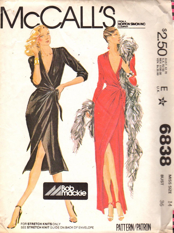 Mccalls 6838 1970s Misses Front Wrap Dress Pattern For Knits Bob Mackie Low V Neck Womens Vintage Sewing Pattern Size 12 Bust 34 Uncut Wrap Dress Pattern Pattern Fashion Evening Dress Patterns [ 1500 x 1124 Pixel ]