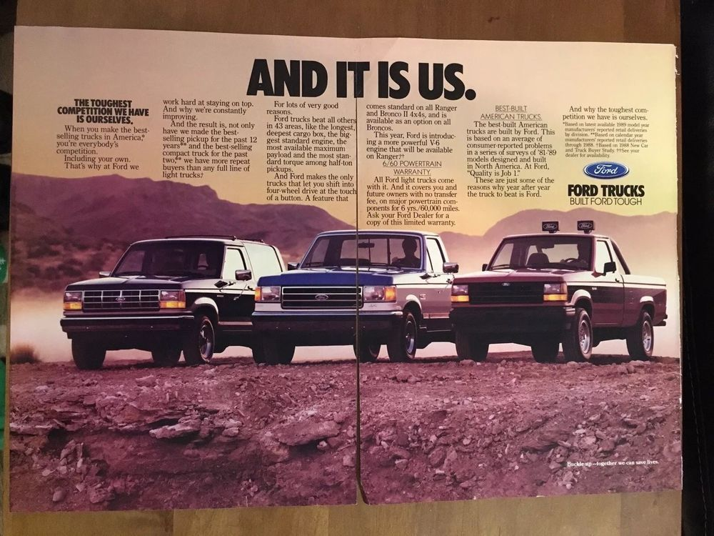 1989 Ford Bronco Ii F 150 Ranger 2 Page Advertising Original Vintage Magazine Ad Ebay Ford Bronco Ii Ford