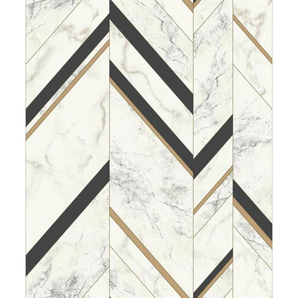 York Wallcoverings 56.9 sq. ft. Marble Chevron Wallpaper