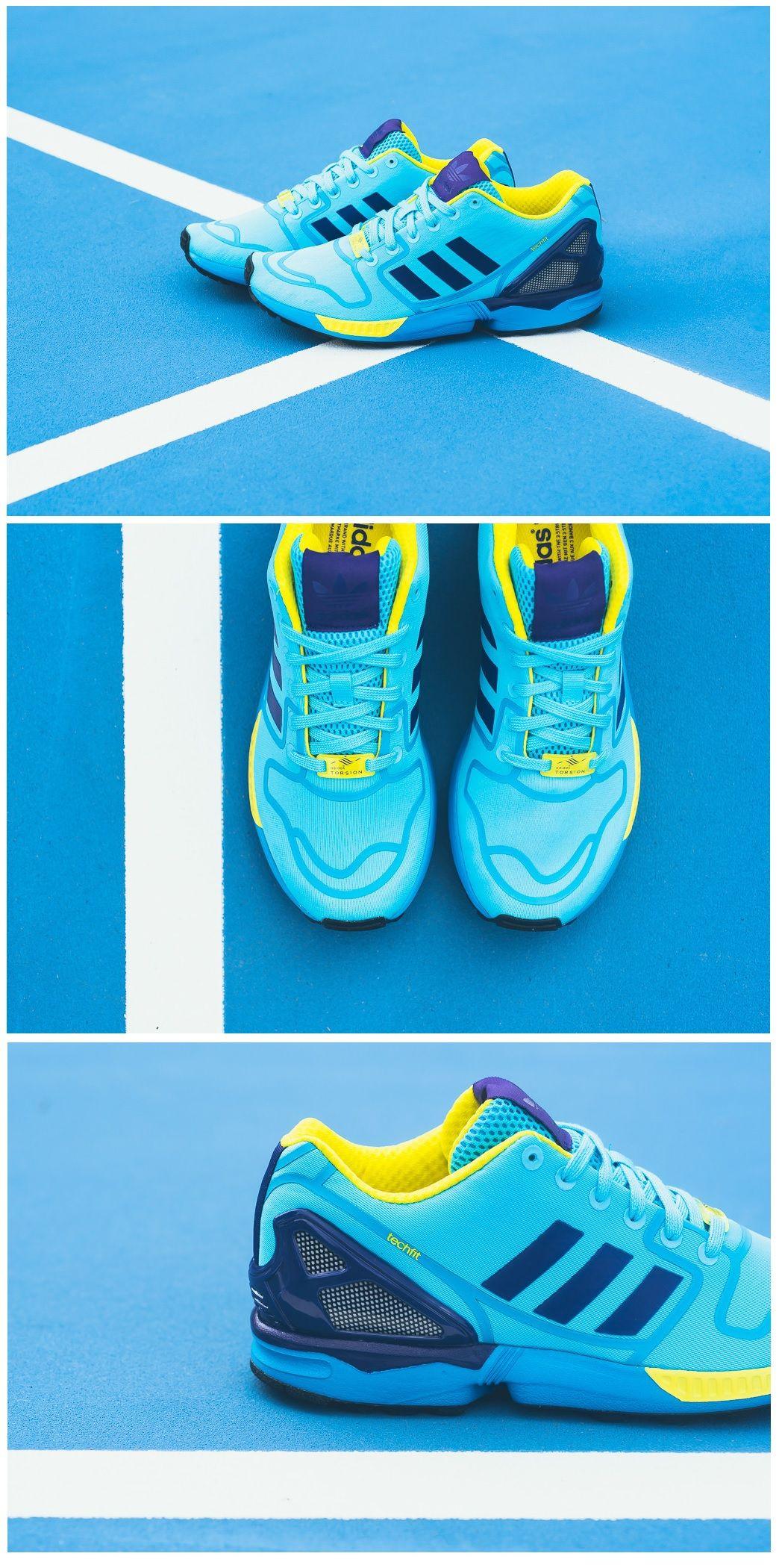 sale retailer b52eb e0211 adidas Originals ZX Flux Techfit  Cyan Purple Yellow Nike Free Shoes, Nike