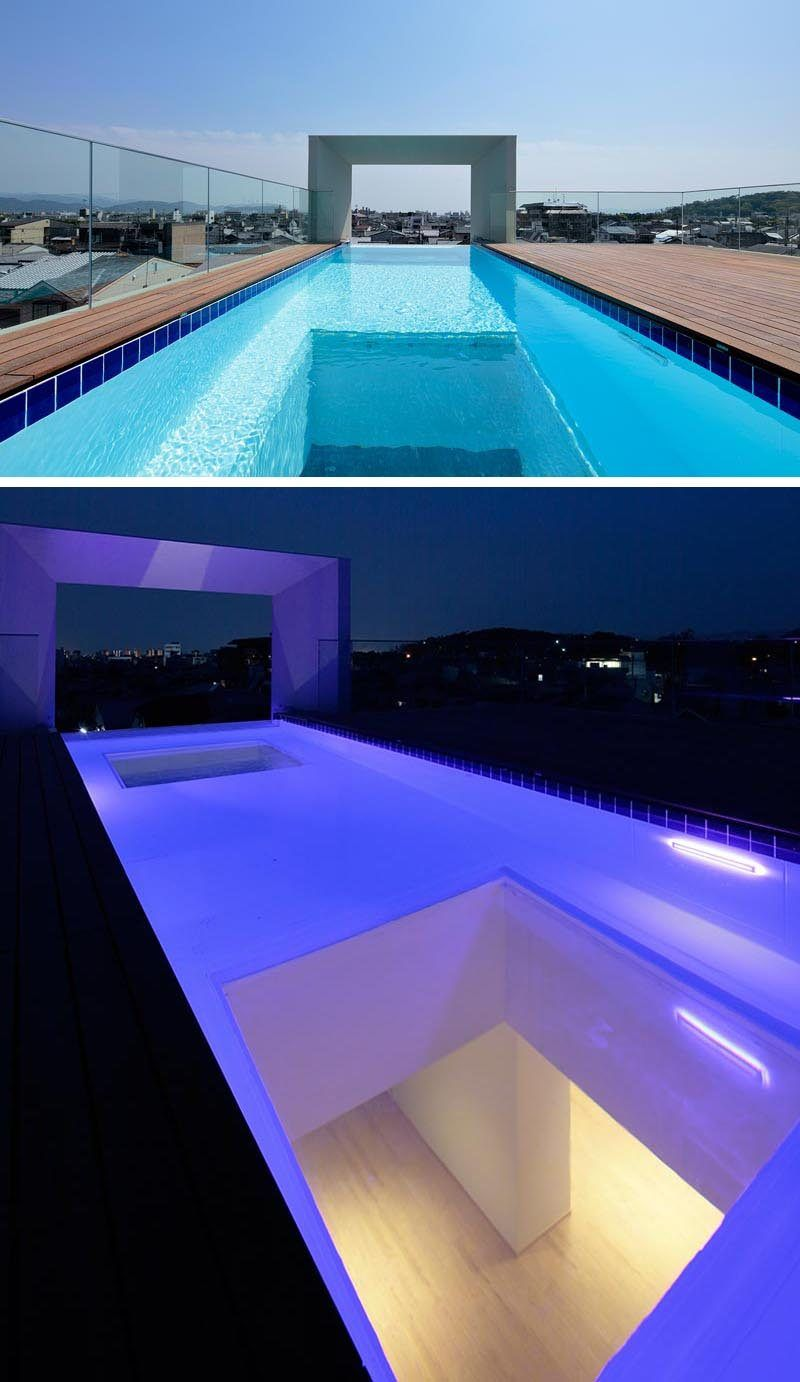 This House Has A Rooftop Swimming Pool With A Window For Views Of The Living Room Below Pool House Plans Rooftop Pool Swimming Pool Designs
