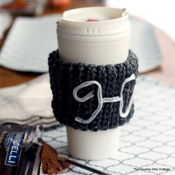 Monogram Knit Coffee Sleeve Knitted Coffee Sleeve Coffee Sleeve