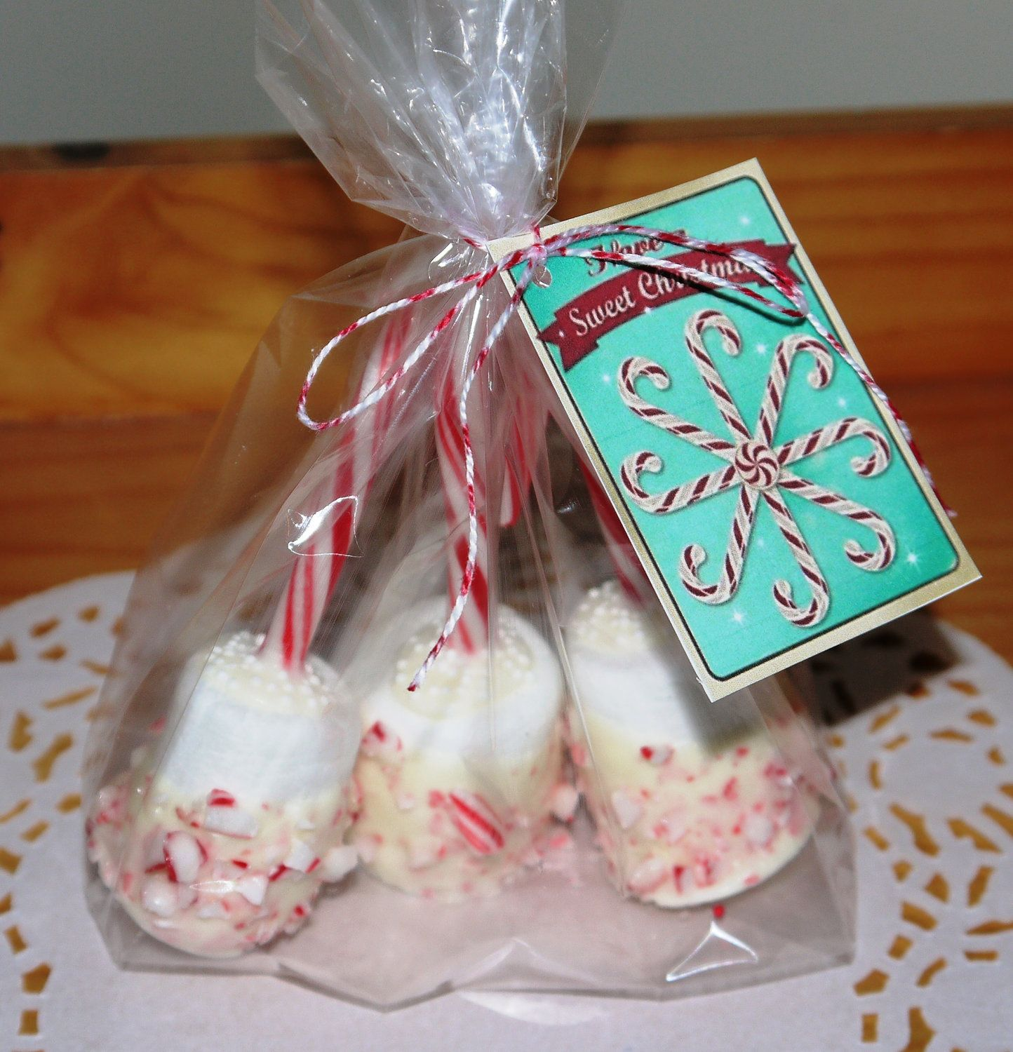 3 Candy Cane Marshmallow Pops Hot Chocolate Dippers Christmas Present