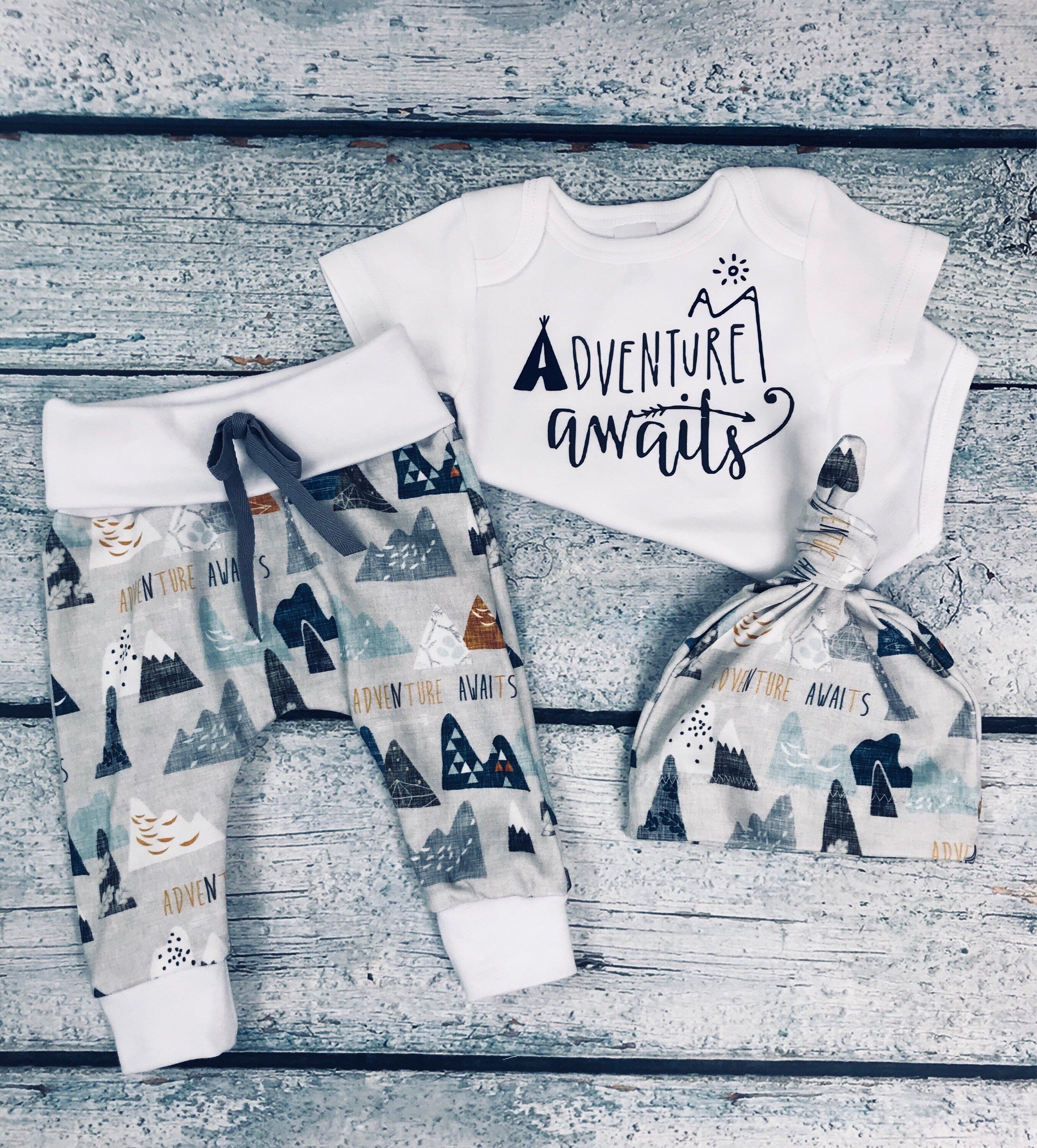 ec94935e05f1 baby boy coming home outfit adventure awaits outfit baby boy take home  outfit newborn outfit organic cotton newborn set baby shower gift by ...