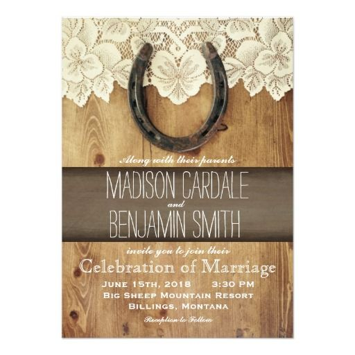 Country Western Horseshoe Lace Wedding Invitations | Country ...