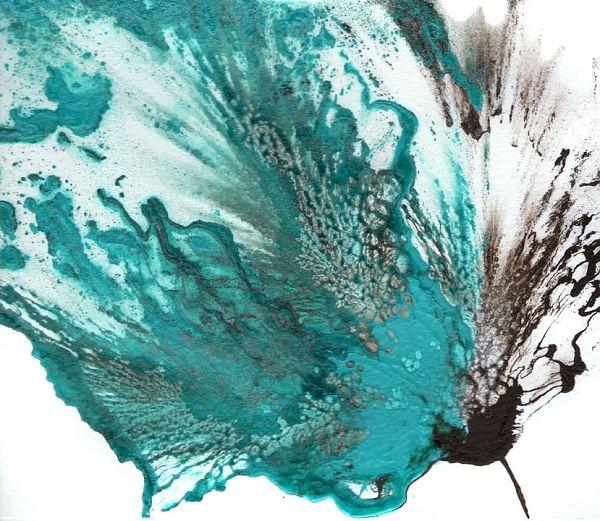 Blue Flower, Abstract Art, Teal Painting, Fine Art Original ...