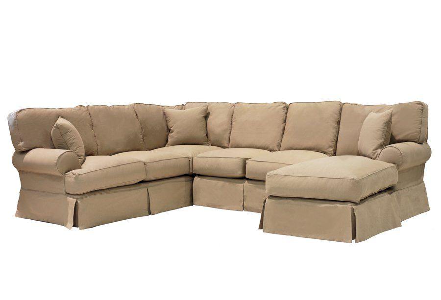 Excellent Slipcover Sectional With Reversible Chaise At Turner New Customarchery Wood Chair Design Ideas Customarcherynet