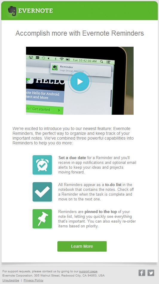 Evernote email template for introducing new features Online - marketing email template