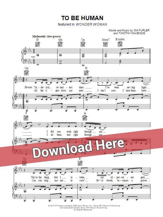 Sia To Be Human Sheet Music Piano Notes Chords Sheet Music