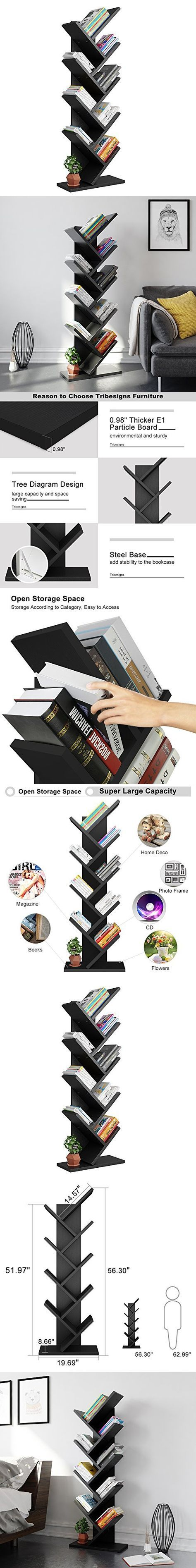 Tribesigns 9-Shelf Tree Shaped Bookcase Book Shelf Modern Stylish Kids Children Bookshelf Shelving Display Storage Rack for CD