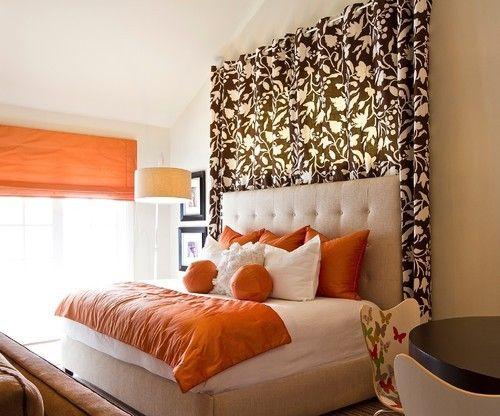 Curtain Backdrop Behind Headboard Remodel Bedroom Bed Decor