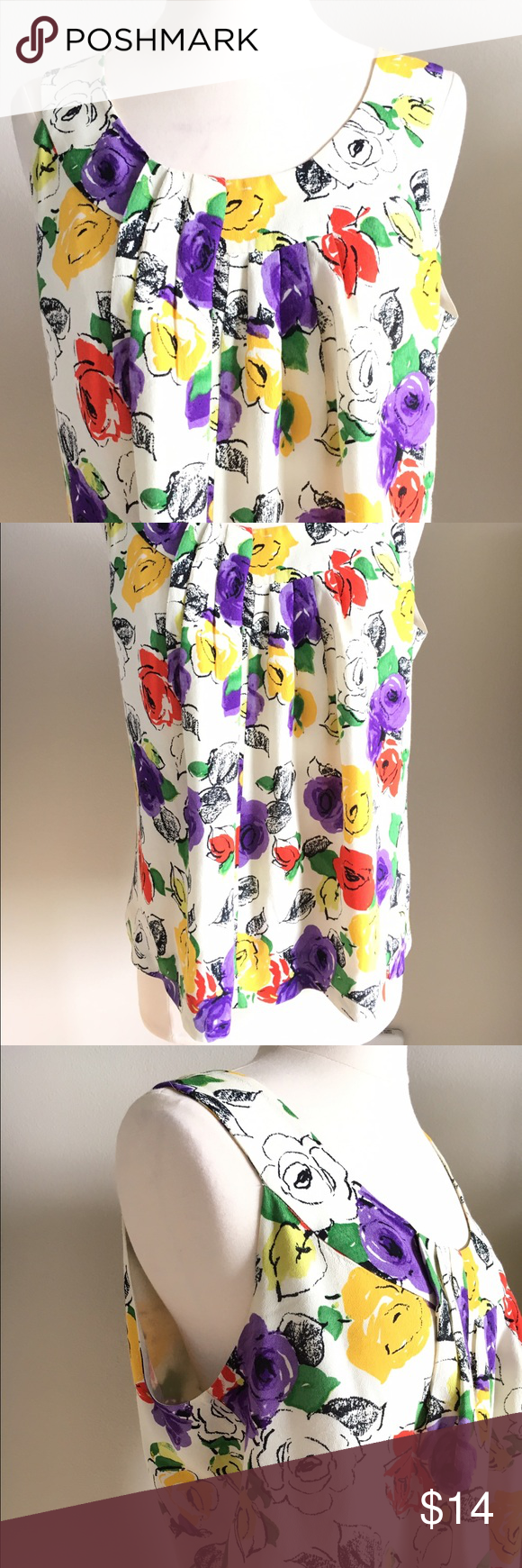 "kate spade live colorfully floral painted blouse Floral brush print. Sleeveless. Pair with your fav cardi. Beautiful yellows, purple and green colors. Gently used. No holes, tears or snags. Material: viracose; lining: poly;  measurements laying flat: 19.5"" armpit to armpit. Price is firm kate spade Tops"