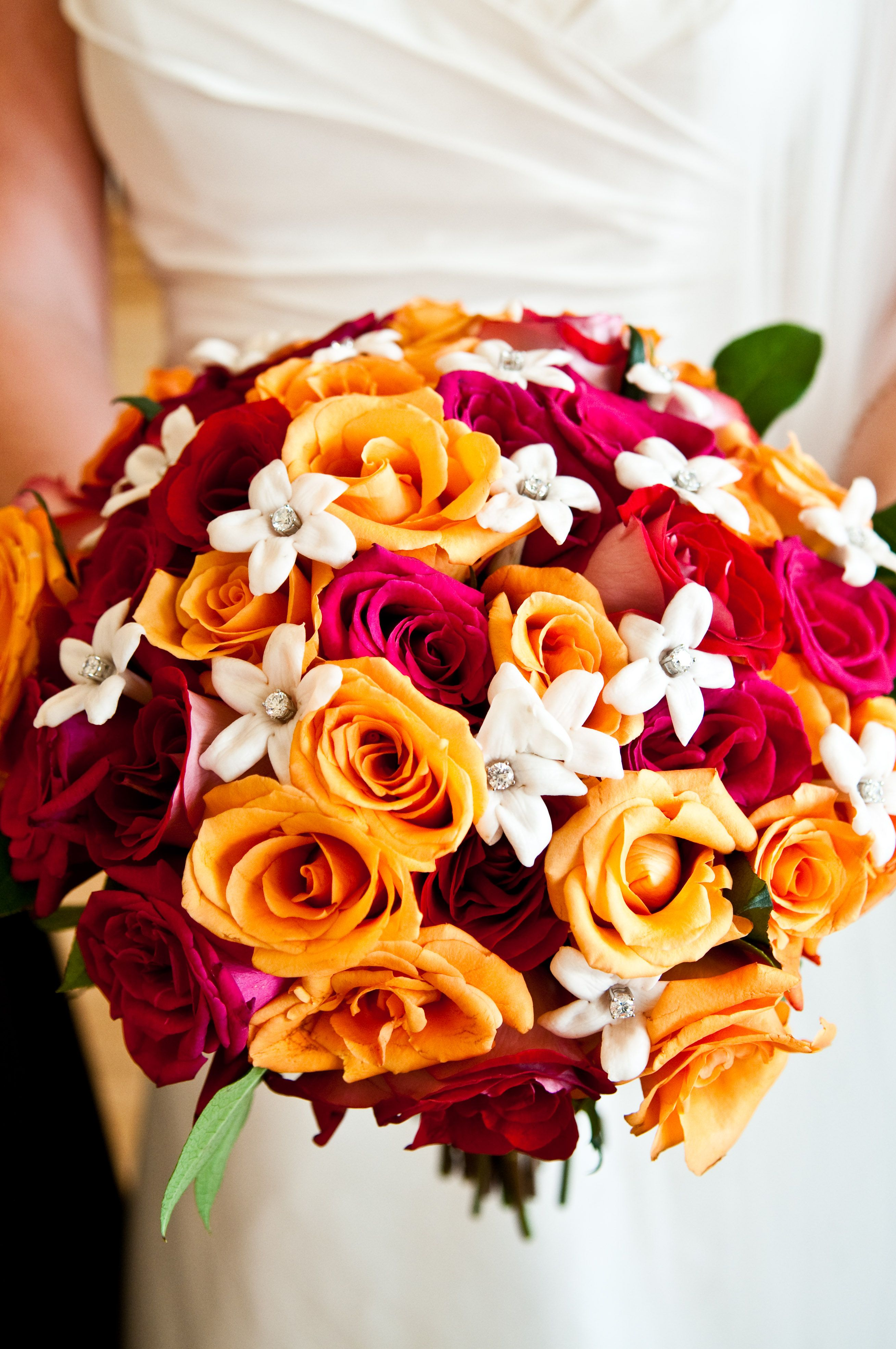 Bridal Bouquet Red Hot Pink Orange And White With Crystals