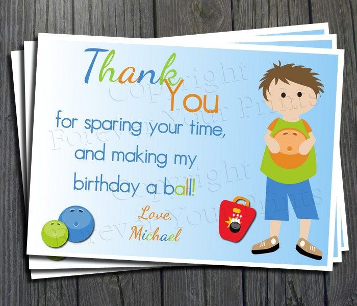 Bowling Party Thank You Card - Printable Thank You Card