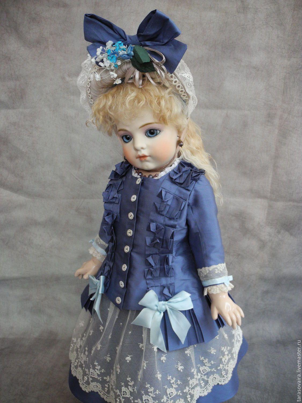 Купить Шелковое платье для куклы 60 см. - антикварная кукла, одежда для кукол, реплика