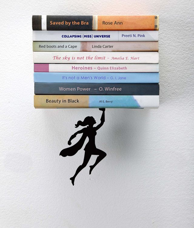 Reading Is Power: Superheroine Bookend And Shelf | Geekologie