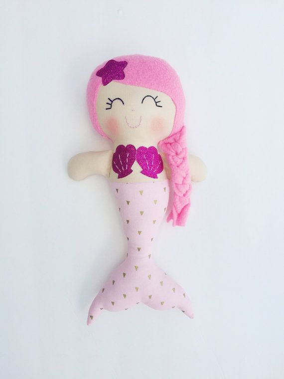 Mermaid doll - fabric doll - handmade doll - modern rag doll - girls ...