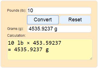 Convert Pounds To Grams Weight Calculator