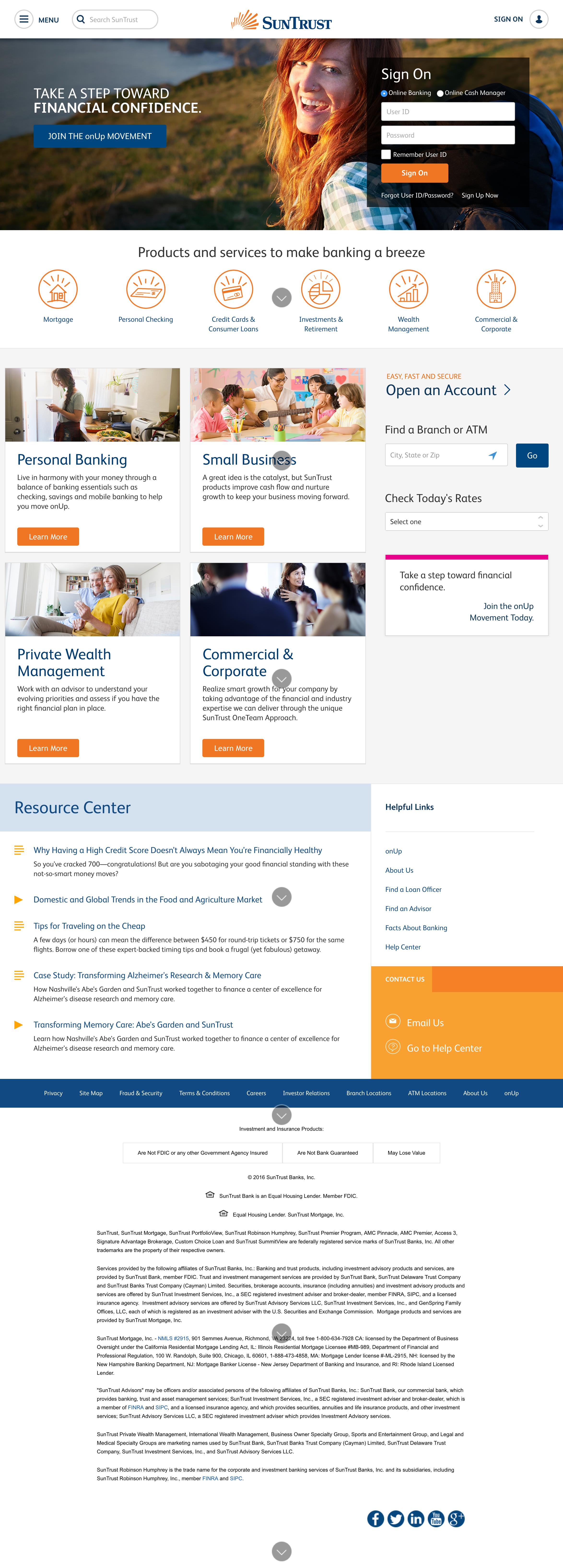 Suntrust Marketing Website Small Business Banking Banking Suntrust
