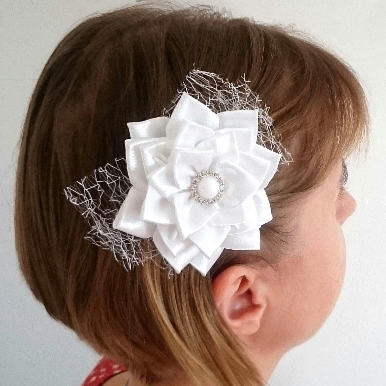 Bridal Hair Flower White Flower Hair Clip Sweet16 Bridal Hair Piece