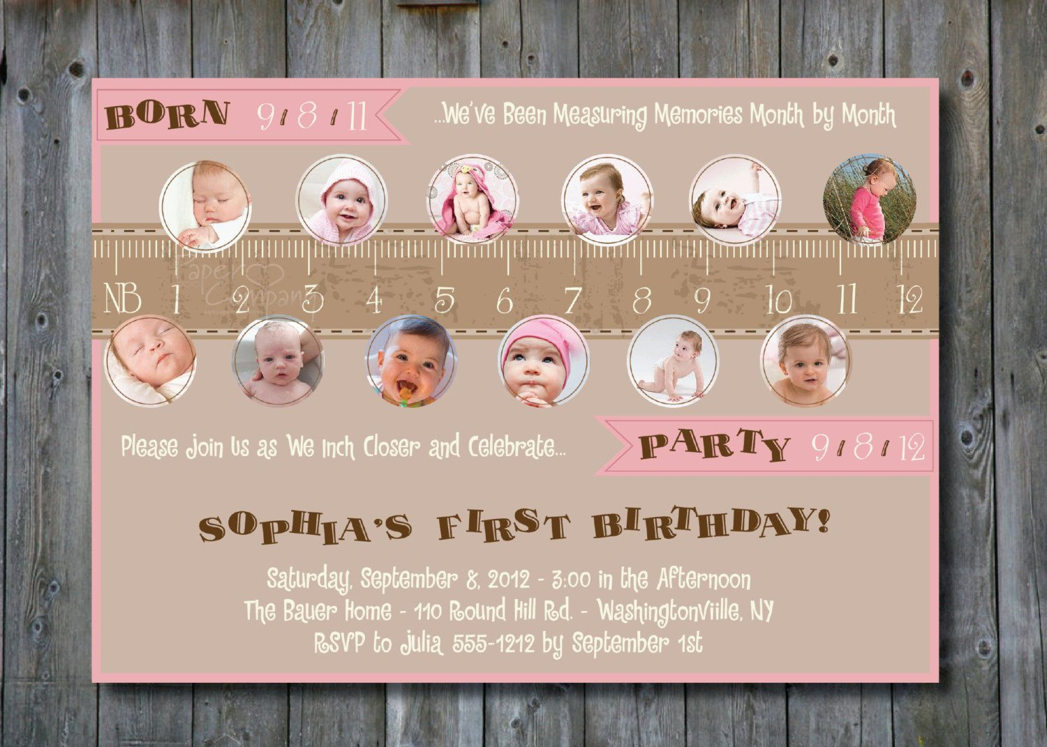 Measure a year, One Year in a Flash First Birthday Party Invitation ...