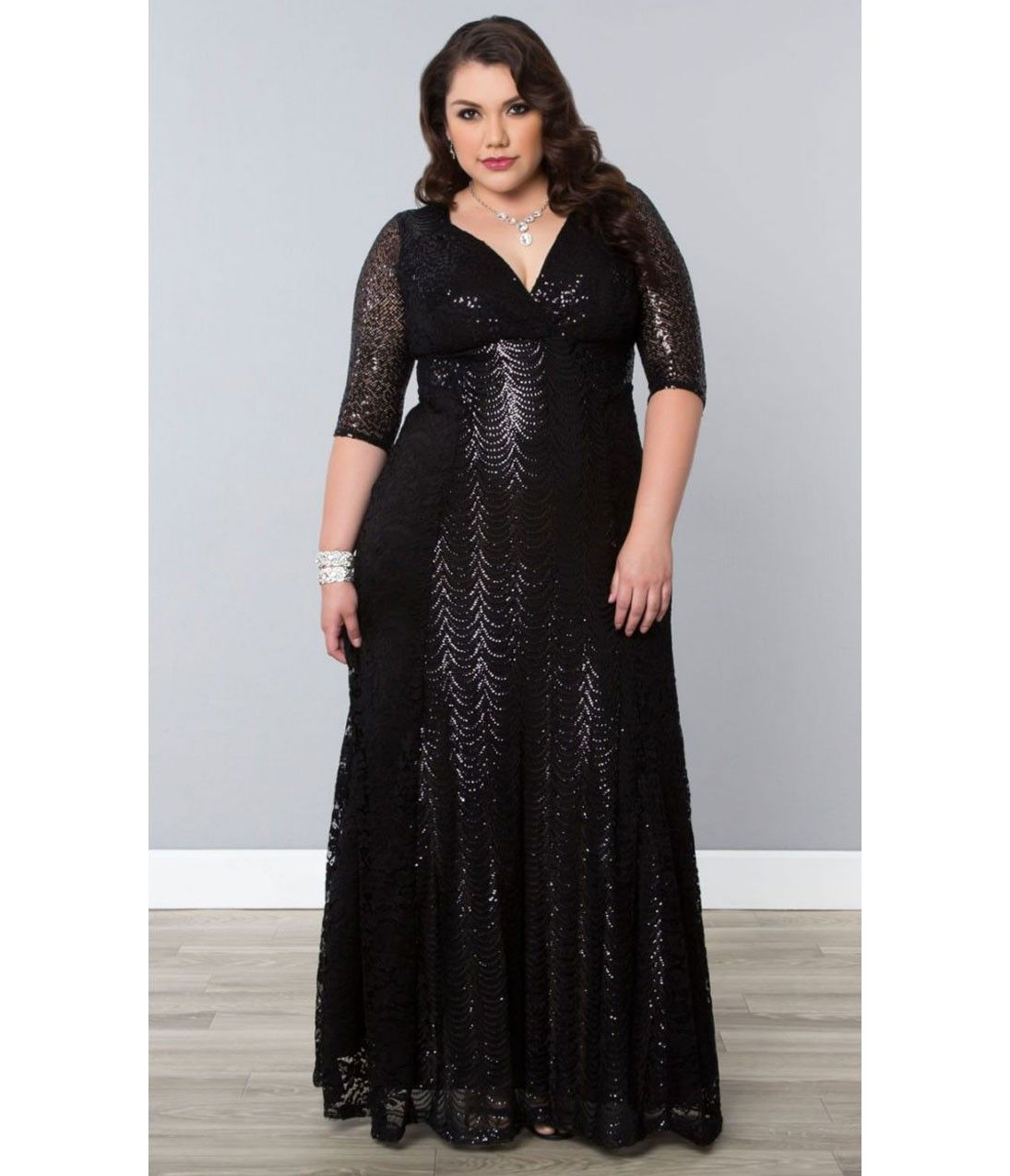 Plus size black scallop sequin grand gatsby half sleeve gown
