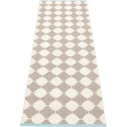 Photo of pappelina Marre outdoor carpet – mud-colored / vanilla with turquoise edge 70 x 375cm PappelinaPap