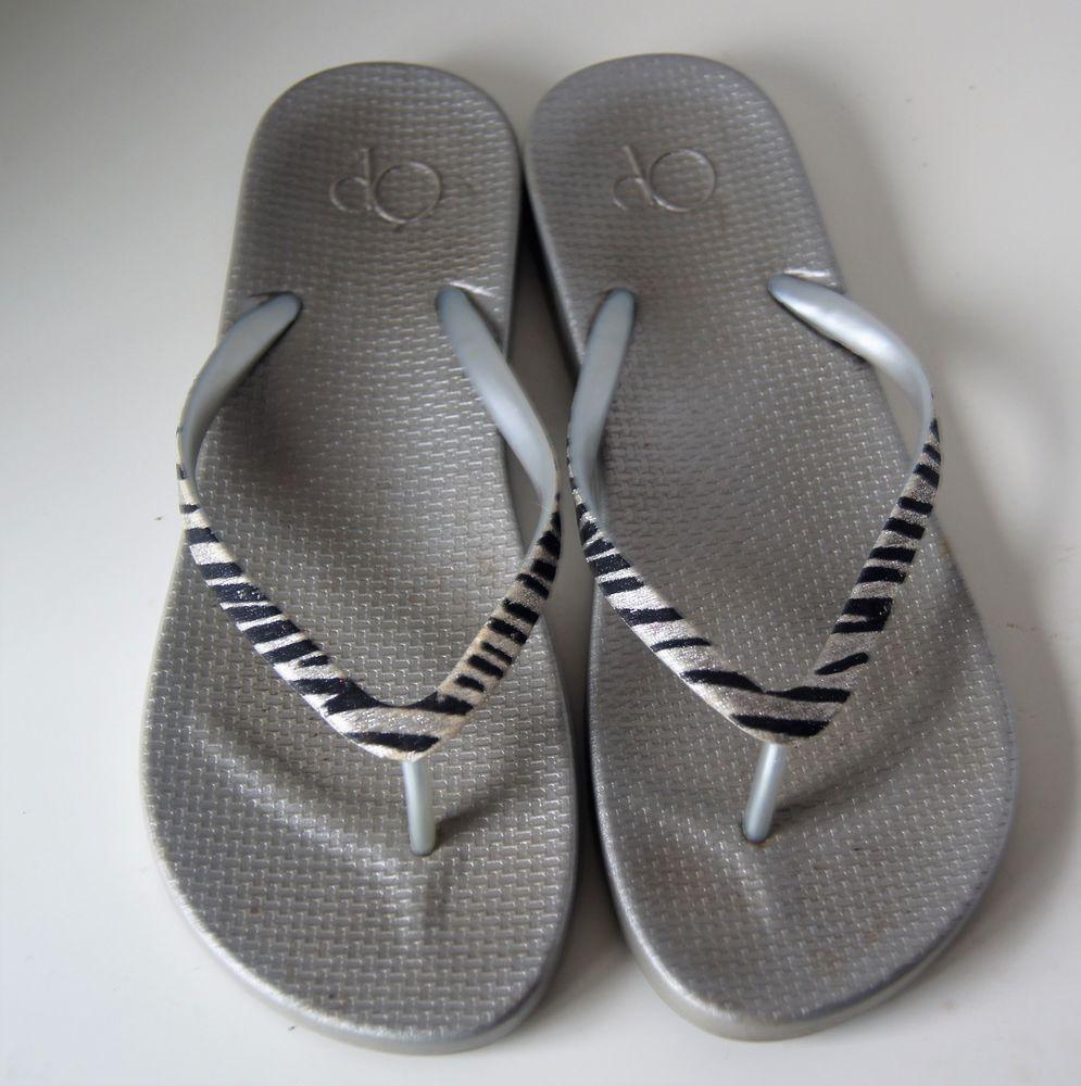 19addb63b6521 Flip Flops · Clothes For Sale · Slipper · OP Plastic Silver Gray Sparkle  Zebra Print Flip Flop Sandals size 7-8 Med
