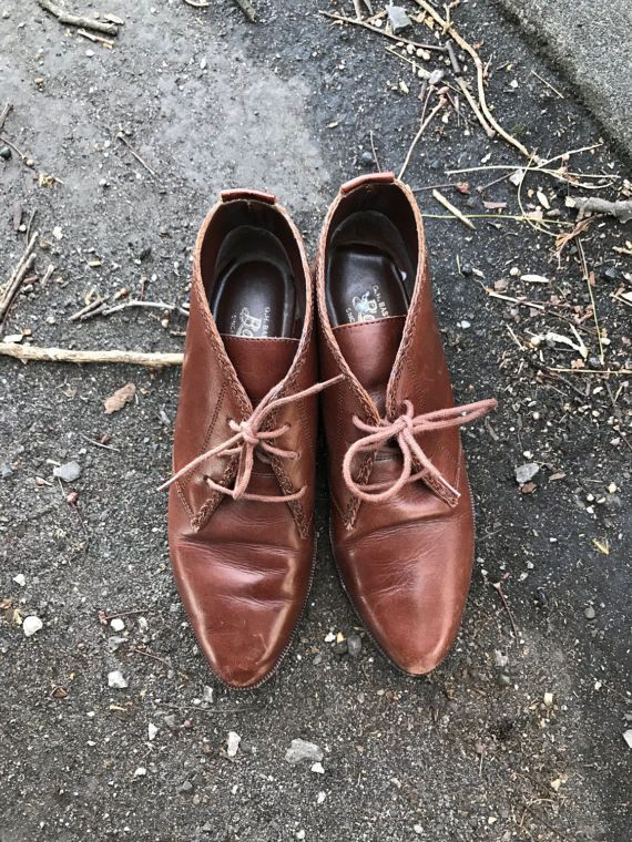 vintage brown leather slip on oxford ankle boots womens 8