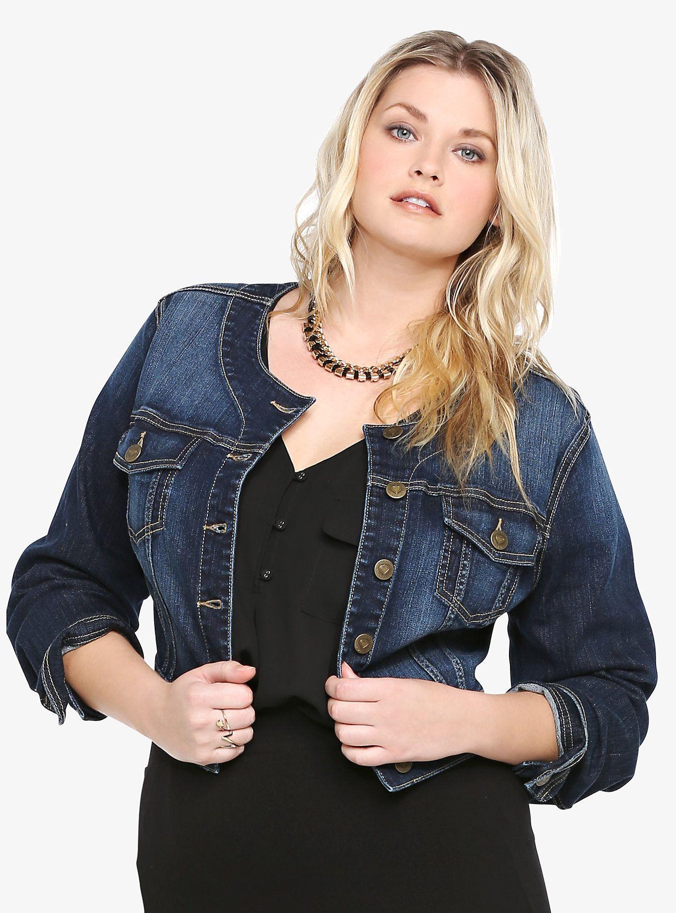 Torrid Cropped Denim Jacket Dark Wash Online Only Curve Appeal Fashion Boutique Collarless Denim Jacket Cropped Denim Jacket Best Jean Jackets [ 1836 x 1360 Pixel ]