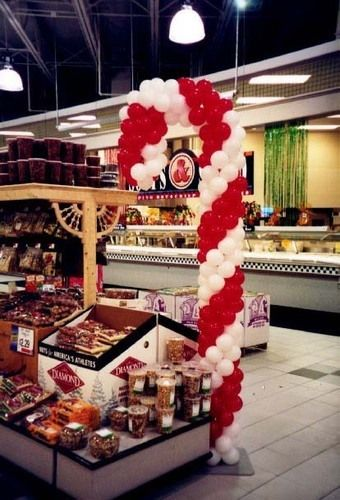Balloon Candy Cane display at Giant Food Stores