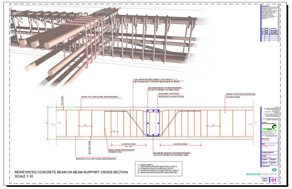 Secondary Concrete Beam Supported on Primary Beam Cross