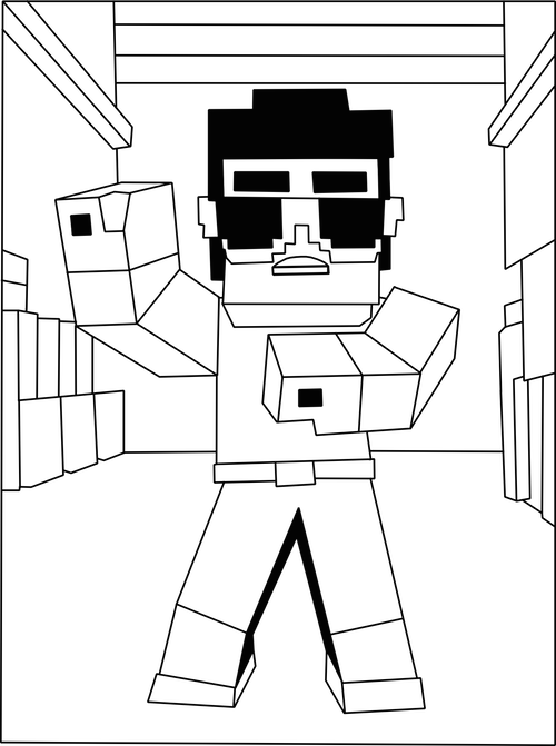 Printable Psy Minecraft Gangnam Style Coloring Page Kids