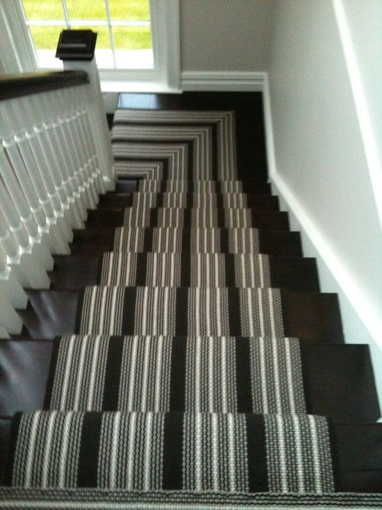 Furniture Cozy Striped Stair Runner With Dark Railing And
