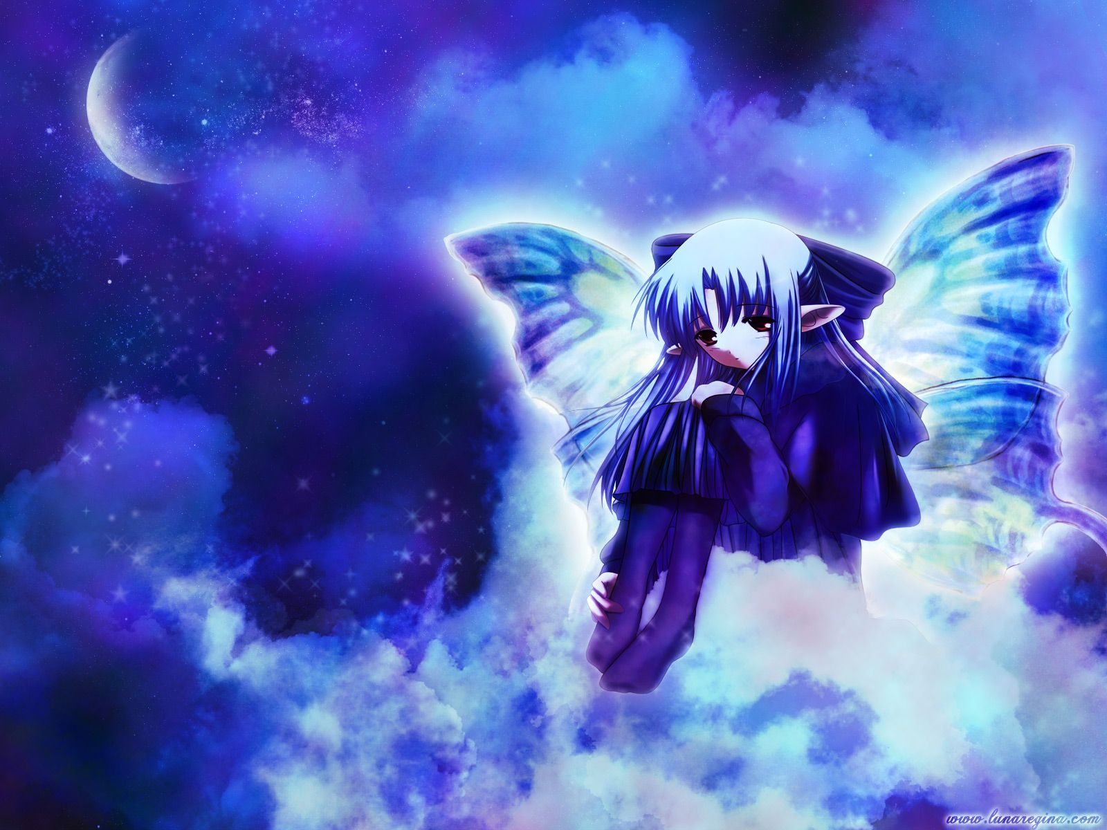 Lonely+Anime+Girl lonely girl, anime, girl, moon, wings