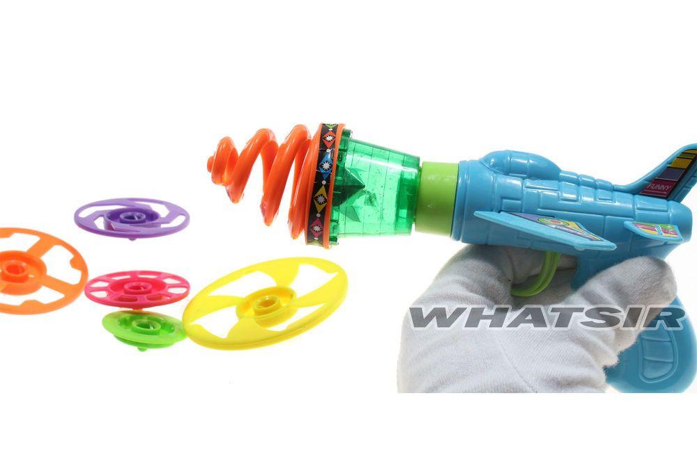 Pop Up #SpinningTops Pistol #Peg-top LED Flash Spin Top Shooting Plane Gun #Whatsir