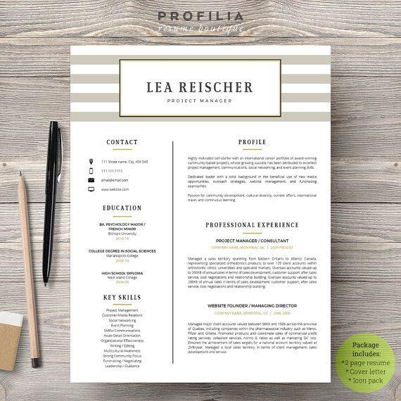 Modern Resume  Cover Letter Template --- Editable word format