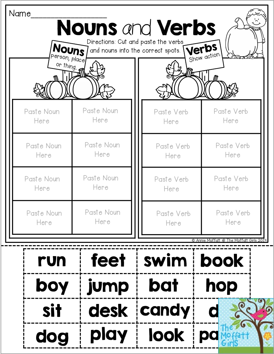 worksheet Cut And Paste Worksheet nouns and verbs cut paste the words into correct pumpkin patch