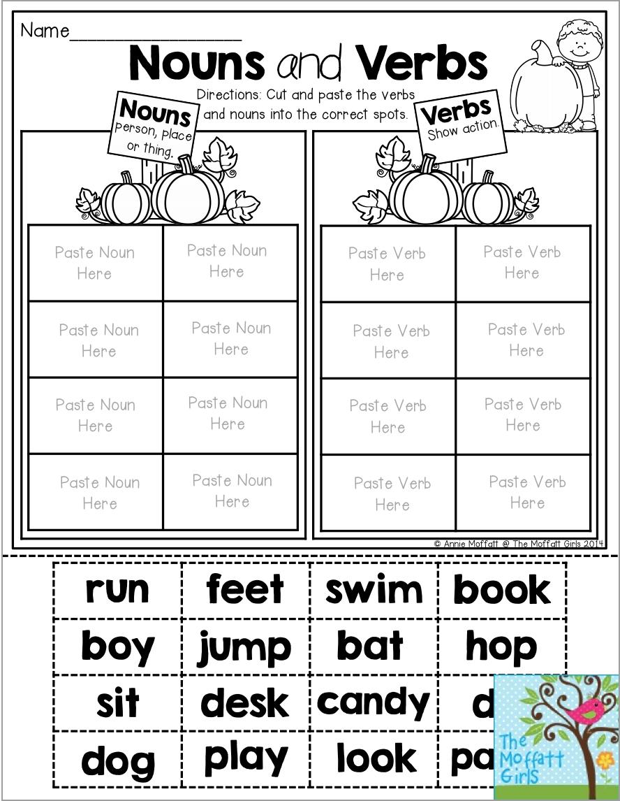 worksheet Kindergarten Cut And Paste Worksheets nouns and verbs cut paste the words into correct pumpkin patch kindergarten