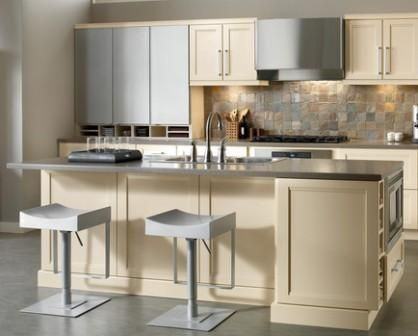 Kraftmaid Transitional Island With Seating Area And Storage - Kraftmaid kitchen island