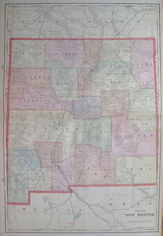 NEW MEXICO Map Of New Mexico State Map By Plaindealing - Us map 1908